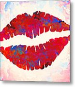 Red Lips Watercolor Painting Metal Print