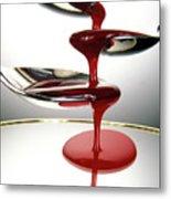 Red Liquid Fountain Metal Print