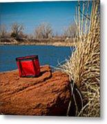 Red Lunch Bag Metal Print