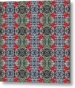 Red Maple Leaf Pattern Metal Print