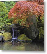 Red Maple Tree Over Waterfall Pond Metal Print