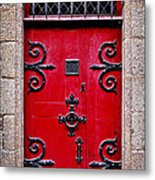Red Medieval Door Metal Print