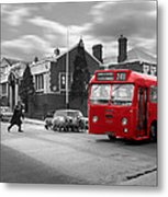 Red Midland Bus And Sheep - 1960's    Ref-126 Metal Print