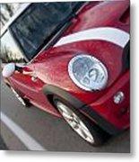 Red Mini-cooper Car On County Road Metal Print