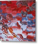 Red Morning With Two Ducks Metal Print
