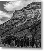 Red Mountain Cliffs In Black And White Metal Print