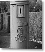 red old historic post pillar box manufactured by Handyside of Derby and London with Edward the seventh crown E Rex and VII symbols Metal Print