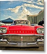 Red Oldsmobile  Metal Print by Merrick Imagery