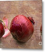 Red Onions On Barnboard Metal Print