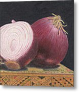 Red Onions On Chess Box Metal Print
