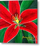 Red Oriental Daylily Metal Print