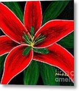 Red Oriental Lily Metal Print