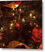 Red Ornament And Gold Ribbon Metal Print