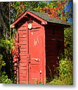 Red Outhouse Metal Print by Paul Ward