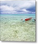 Red Outrigger Canoe Metal Print