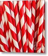 Red Paper Straws Metal Print