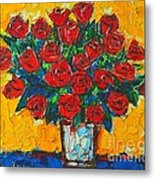 Red Passion Roses Metal Print by Ana Maria Edulescu