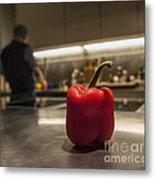 Red Pepper Awaits The Chop Metal Print