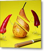 Red Peppers Sliced A Pear Metal Print