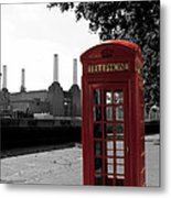 Battersea Power Station And The Red Phone Box Metal Print