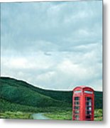 Red Phone Box On Rural Road Metal Print