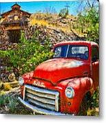 Red Pickup Truck At Santa Fe Metal Print
