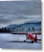 Red Plane In A Gathering Storm Metal Print