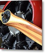 Red Plane With Wood Propeller Metal Print