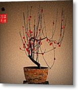 Red Plum Blossoms Metal Print