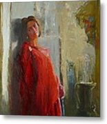 Red Poncho Metal Print