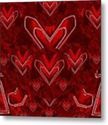 Red Pop Art Hearts Metal Print
