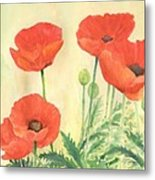 Red Poppies 3 Colorful Watercolor Poppy Floral Original Art Flowers Garden Artist K. Joann Russell Metal Print