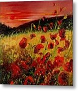 Red Poppies And Sunset Metal Print