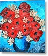 Red Poppies And White Daisies Metal Print
