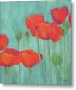Red Poppies Colorful Poppy Flowers Original Art Floral Garden  Metal Print