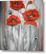 Red Poppies In Silver Dream Metal Print by Elena  Constantinescu