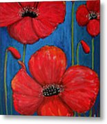 Red Poppies On Blue Metal Print