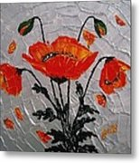 Red Poppies Original Palette Knife Metal Print