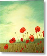 Red Poppy Field With Green Sky Metal Print by Cecilia Brendel