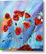 Red Poppy With Dragonfly Metal Print