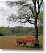 Red Pumpkin Wagon Metal Print by Paulette Maffucci