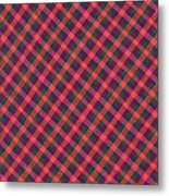 Red Purple And Green Diagonal Plaid Textile Background Metal Print