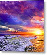 Red Purple Sea Sunset-sun Trail Waves Seascape Metal Print
