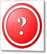 Red Question Mark Round Button Metal Print