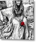 Red Red Rose In Black And White Metal Print