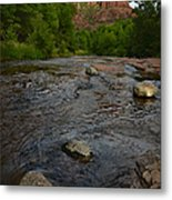Red River Crossing Under Cathedral Rock Metal Print