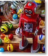 Red Robot And Marbles Metal Print