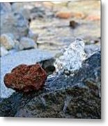 Red Rock And Crystal Water Metal Print