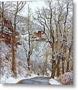 Red Rock Winter Road Portrait Metal Print by James BO  Insogna