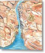 Red Rocks Of Water Metal Print